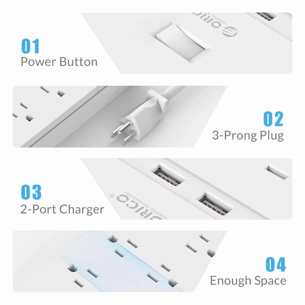 ORICO FPC listwa zasilająca z USB gniazdo USB Surge Protector 6/8/10 AC gniazda 2 porty USB do ładowania 5V2. 4A wyjście USB