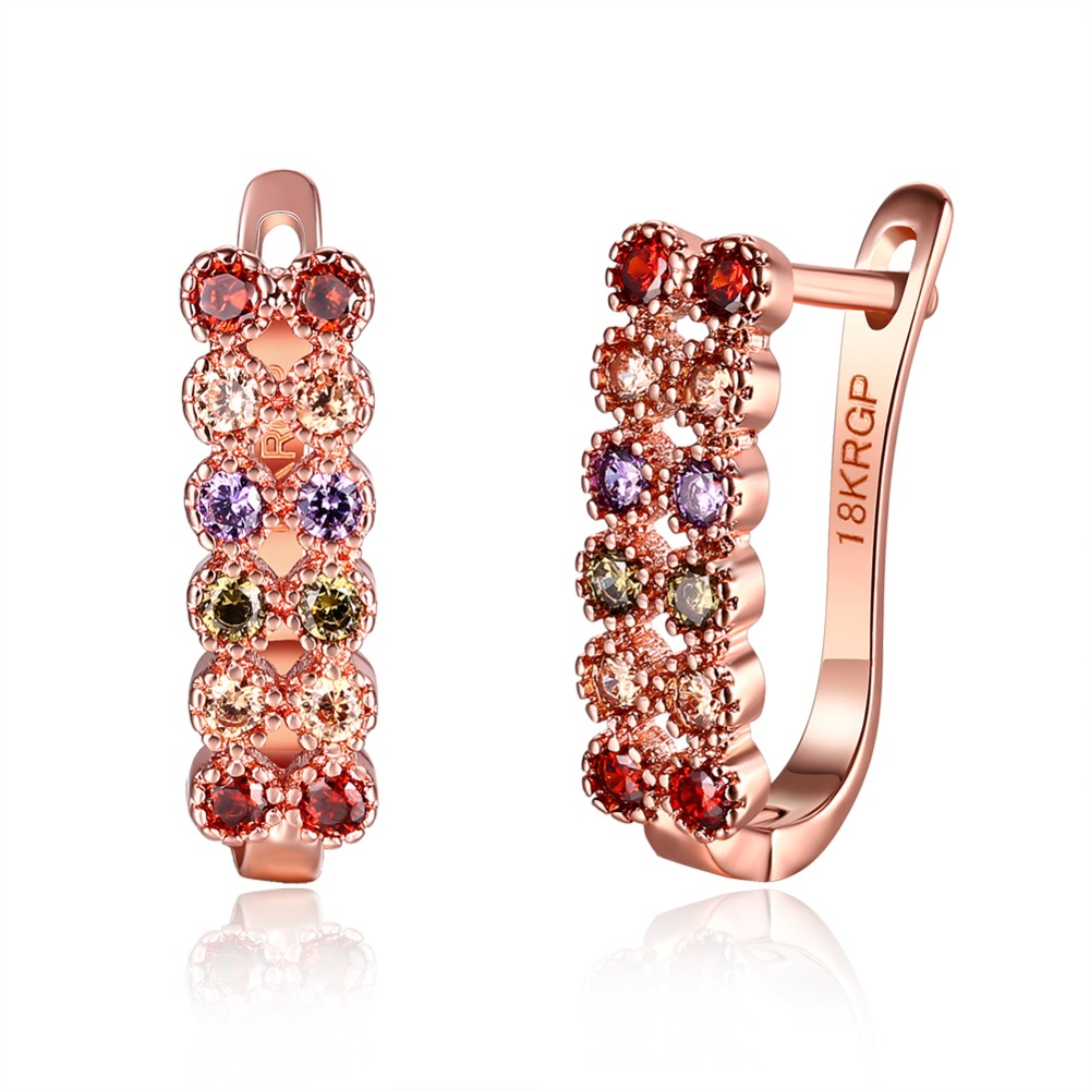 fb63e60e2d Or Rose couleur clip boucles d'oreilles avec zircon multicolore ...