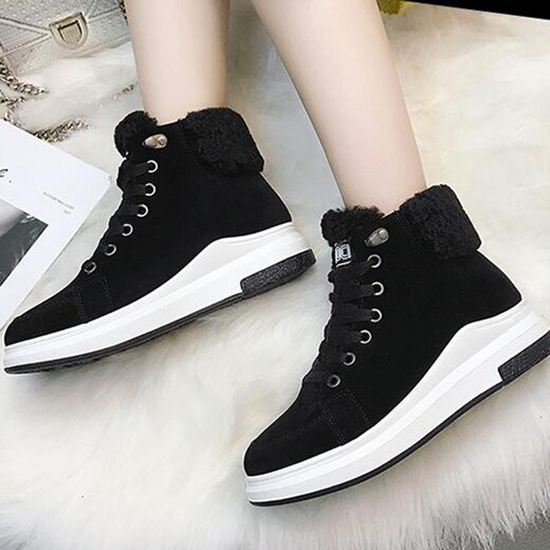 COVOYYAR Comfort Women Sneakers 2019 Platform Snow Boots Women Winter Shoes High Top Lace Up Wedges Casual Shoes WSN727