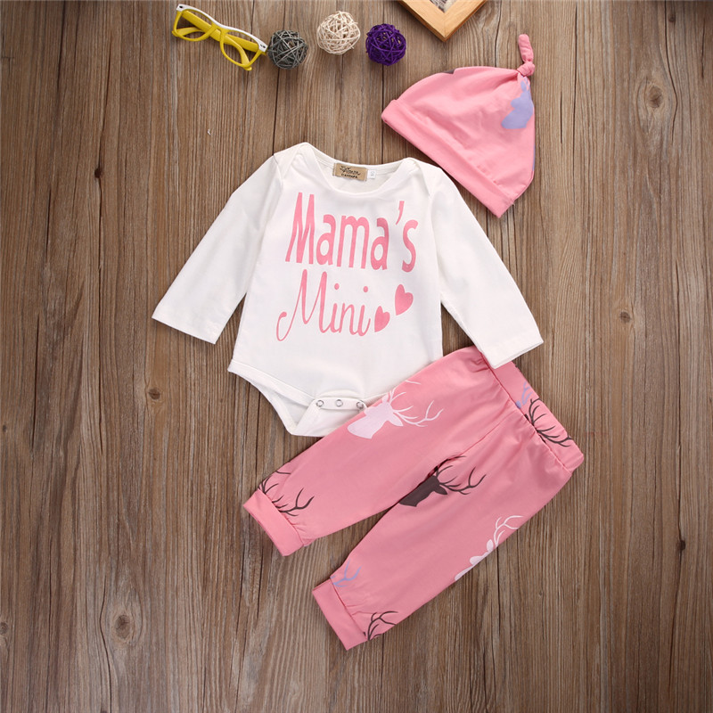 US Stock 2017 MAMA'S Infant Baby Boys Girls 3Pcs Outfit Romper Hat Babygrow Pant Clothes 0-18M