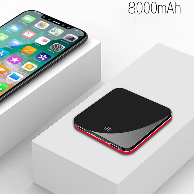 wireless Mini Power Bank 8000mah Thin Mirror Screen 2.1A Fast Charging wireless Portable Charger Powerbank  for iphone xiaomi 2