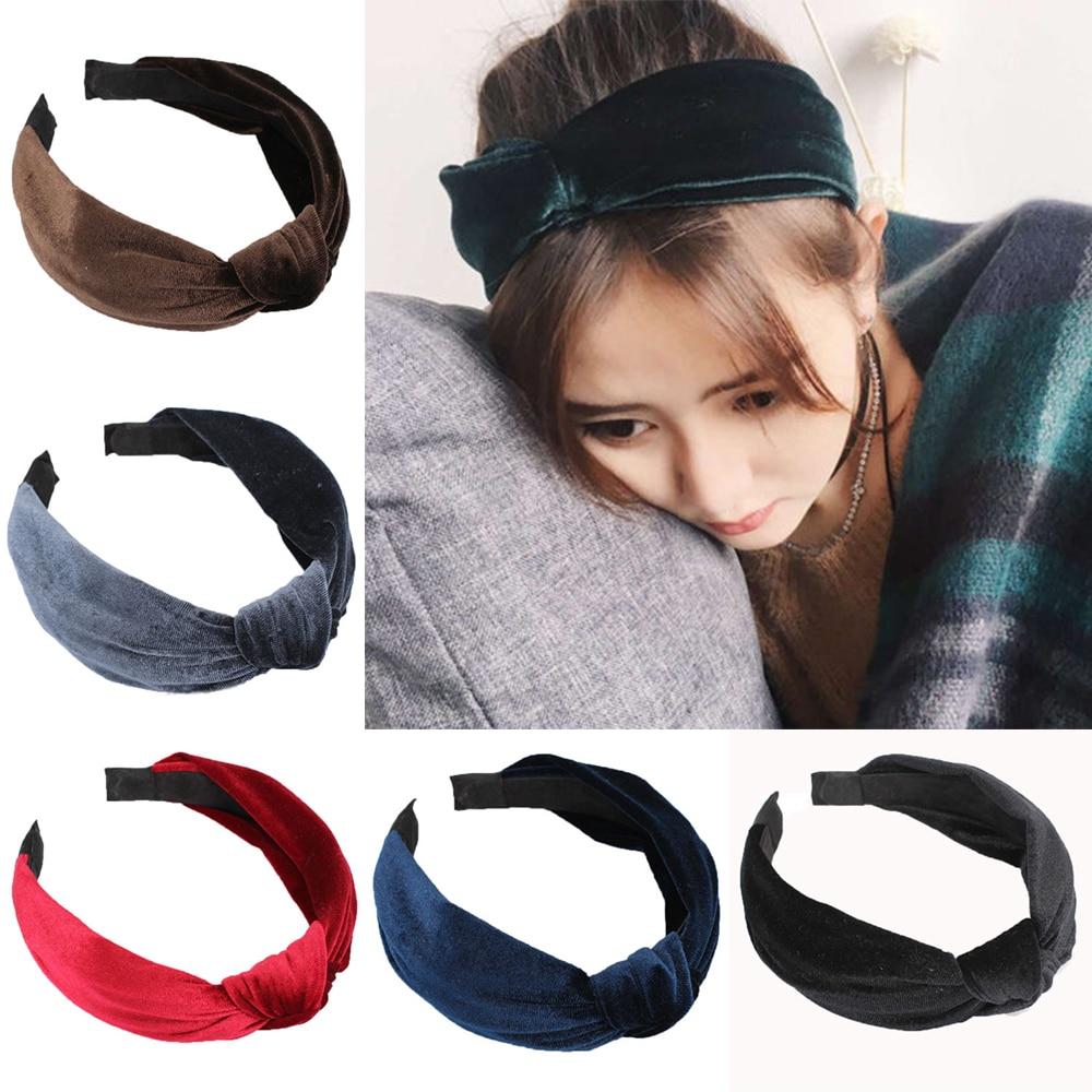 Simple Womens Headband Twist Hairband Bow Knot Cross Tie Velvet Headwrap  Hair Band Hoop Hair Accessories-in Women s Hair Accessories from Apparel ... aae4d3212da3