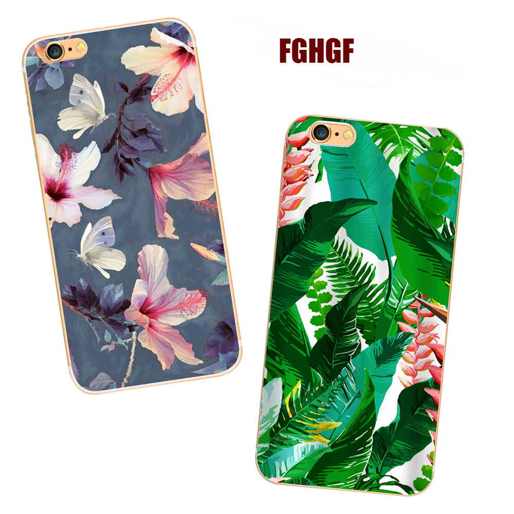 Fashion Colorful Flower Plants Leaves Case For iphone 7 Case Hard Cover Phone Cases For iphone7plus 6 6S PLus 5 5s se 8 8plus