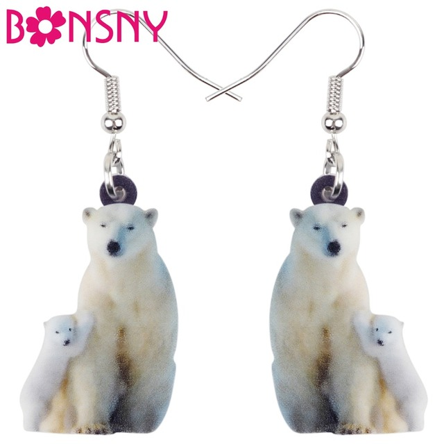 Bonsny Acrylic North Pole Family Polar Bear Earrings Drop Dangle Long Arctic Animal Jewelry For