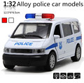Classic Toys ! 1 : 32 alloy pull back Sound and light police cars toy model,2 open door car,free shipping,Baby educational toys