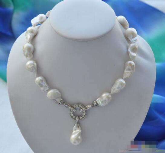 """Venta caliente nuevo Estilo>>>>> 18 """"23mm barroco blanco keshi Renacido collar colgante"""