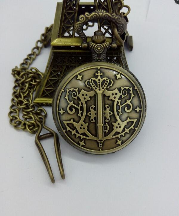 Black Butler Butler Sebastian Theme Pocket Watch With FOB Chain Free Shipping
