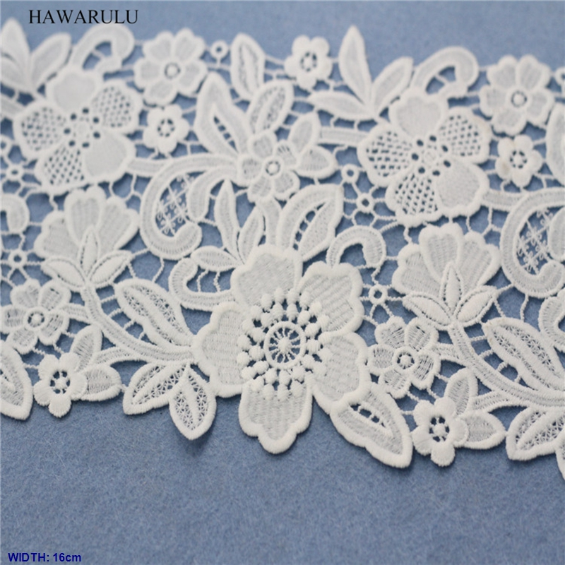 1pcs 2yard 16cm DIY Milk silk lace fabric  water soluble curtains lace women's wear children's clothing accessories wedding deco