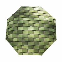 Green Square Printed Automatic Umbrella Three Folding Sunny Rainy Umbrellas Fashion High Quality Business Men Women Umbrellas