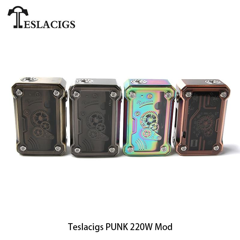 Original TESLACIGS Tesla Punk 220 W boîte Mod Cigarettes électroniques 18650 TC Vape Mod boîte vaporisateur TC TCR VW VV Mode fit 510 réservoir