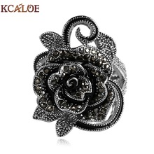 Фотография Black Flower Rings For Women 2016 Fashion Crystal Cubic Zirconia Vintage Jewelry Silver Plated Accessories Aneis Feminino Ring