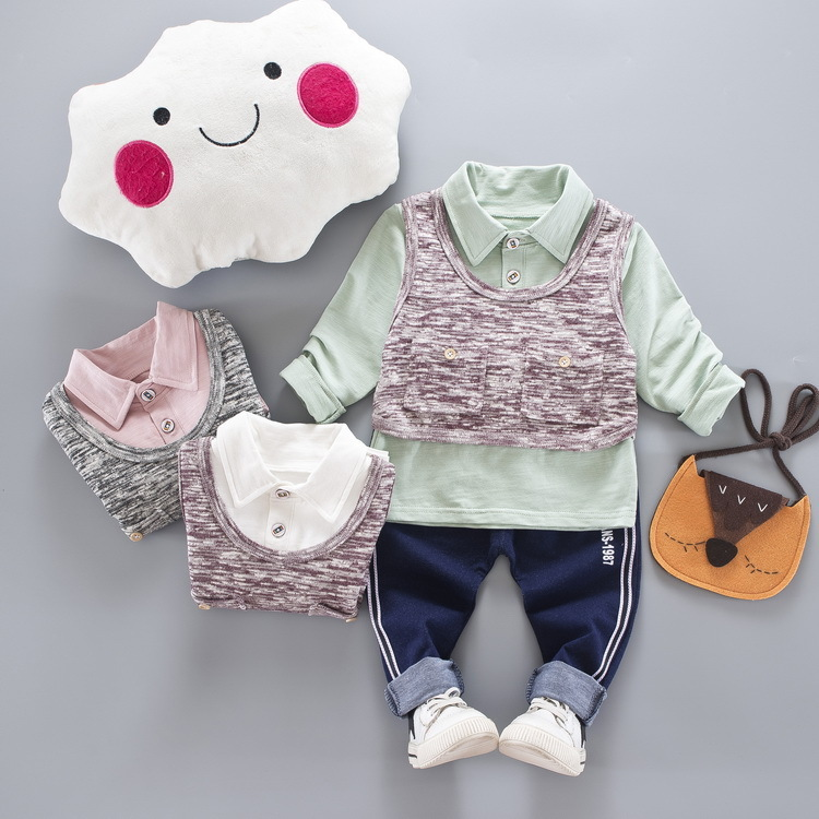 Nnilly 2018 Spring Autumn Favourite Hot Suit 1-3 Baby Kids Clothes Children Clothing Cartoon Print T-shirt+Pants Brand 3pcs/set