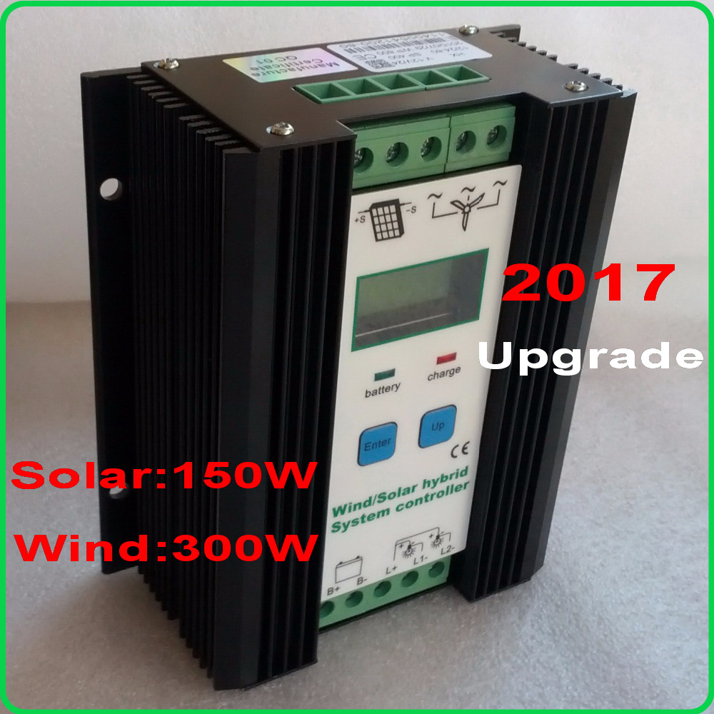 450W MPPT hybrid controller 300W Wind Turbine+150W Solar Panel 12V/24V Auto-work Battery Charge Regulator solar systen