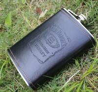 9 Oz Stainless Steel Hip Flask Leather Whiskey Wine Bottle Retro Engraving Alcohol Pocket Flagon With