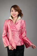 Free Shipping Wholesale Retail Pink New Chinese Women's Silk Satin Jacket Spring Flowers Coat Size S M L XL XXL XXXL MN 0108