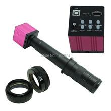 Industria 14MP HD HDMI USB Digital Video Microscopio de Inspección Conjunto de Cámara TF Tarjeta Grabadora de Vídeo + 28X-600X C-MOUNT Lente de Zoom
