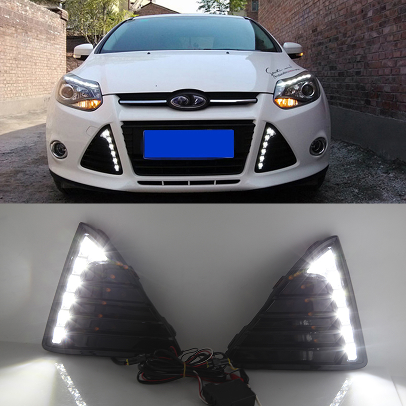 Car Flashing 1Pair DRL For Ford Focus 3 2012 2013 2014 Daytime Running Lights Fog head