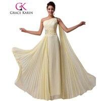 Grace Karin Free Shipping 1pc Lot One Shoulder Chiffon Long Bridesmaid Dress Light Yellow CL6066