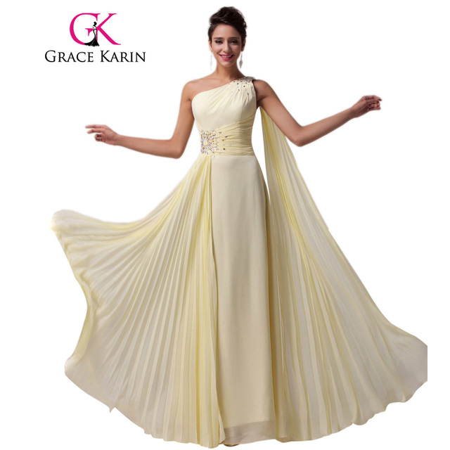 Grace Karin One shoulder Long Bridesmaid Dresses Light Yellow Chiffon with Ribbon Special Occasion Dress CL6066