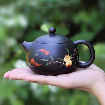 230ML Authentic Yixing Purple Clay Teapot Famous Handmade Peach Pattern Raw Ore Black Mud Zisha Pot 188 Hole Teaware Puer Kettle|kettle|kettle black|kettle pot -