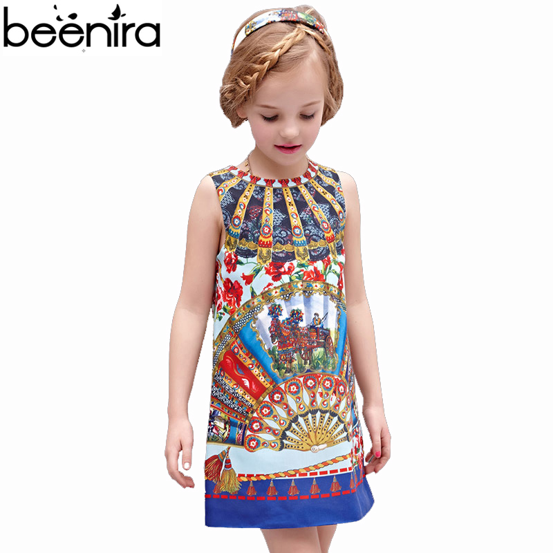BEENIRA Girls Dresses Kids Retro Princess Dress Children Floral Vest Print Clothing for Party and Banquet High Qualiry kids pineapple print vest