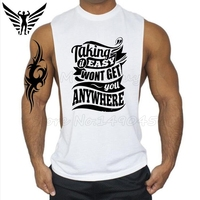 Muscleguys Brand Taking It Easy Personality Letters Design Bodybuilding Stringer Tank Top Men Fitness Singlets Gyms