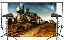 7x5ft Classic Old Steam Train Photography Background Golden field landscape Backdrop Photo Studio Holiday background