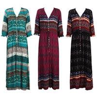 Women-Bohemia-V-neck-Three-Quarter-Sleeve-Floral-Print-Ethnic-Autumn-Beach-Boho-Long-Dress-Retro-Hippie-Vestidos-Boho-Dress-3