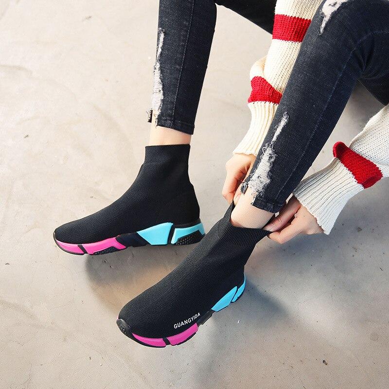 2019 chaussette chaussures femmes baskets décontracté tricot bottines chaussures de Sport mode baskets femmes haut Sport course chaussures noir