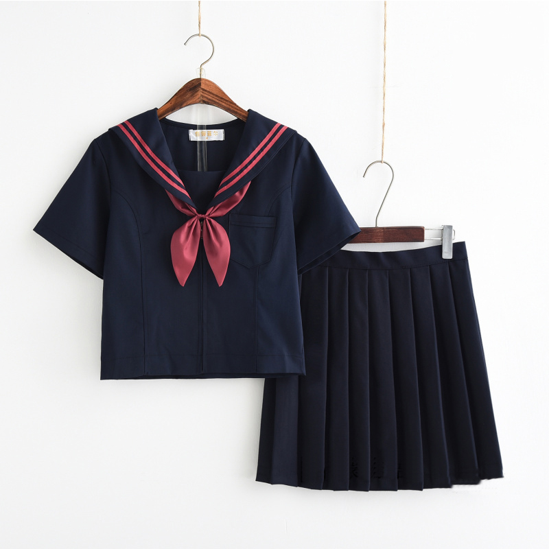 New Navy Sailor Japanese School Girl Cosplay Suits Short Long Sleeve Shirt Pleated Skirt Student Stage Performance Class Uniform