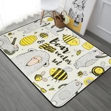 Kid Carpet Cartoon Honeybee Printing For Kids living room Game Baby bedroom Crawl mat Child Bathroom Non-skid Rugs