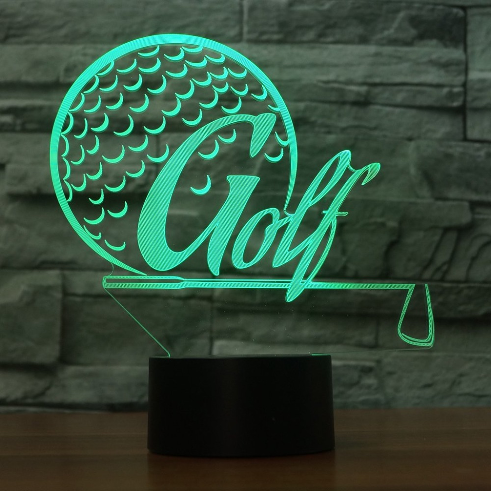 Creative 3D Sports Desk Lamp Led 7 Colorful Golf Modelling Night Light Usb Golf Enthusiast Gifts Lighting Fixtures Bedroom Decor