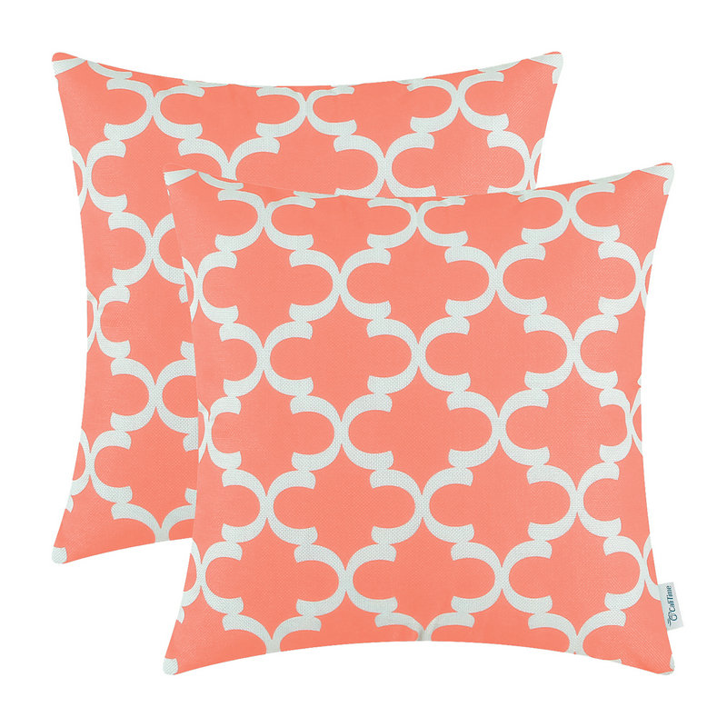 2pcs calitime coral pink cushion cover pillows shell home sofa decor bedding set geo print 45cmx45cm
