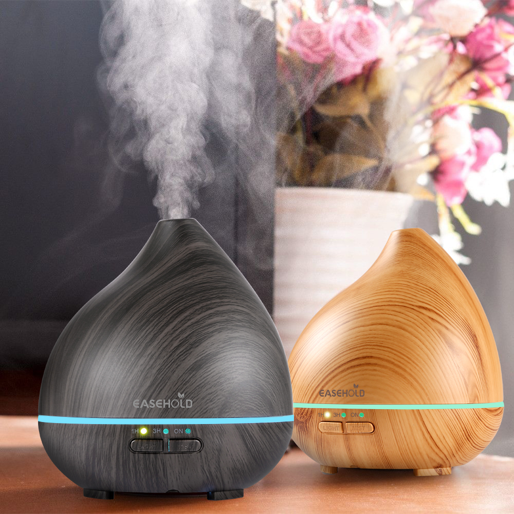EASEHOLD Clearance 150ml Essential Oljediffusor Wood Grain Ultrasonic Cool Mist Luftfuktare med 7-färgsändring Auto Shut-off