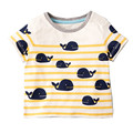 Little Maven New Boys  Summer Fashion Lovely Cartoon Whales Short O-neck Brand Cotton Quality Knitted Children Tshirt