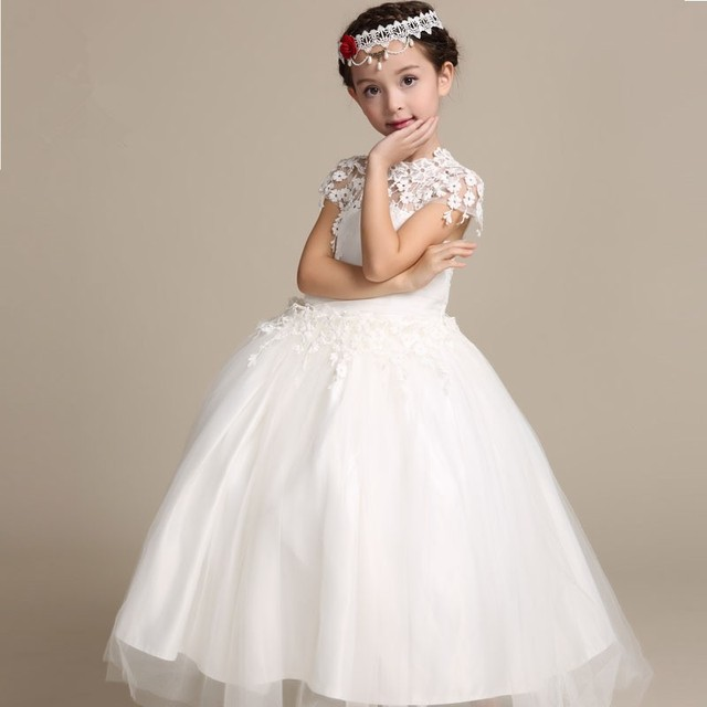 13a5553088 Elegancki kwiat dziewczyna sukienka koronka długa suknia księżniczka  sukienki dla dzieci biała sukienka dla dziewczynki wesele