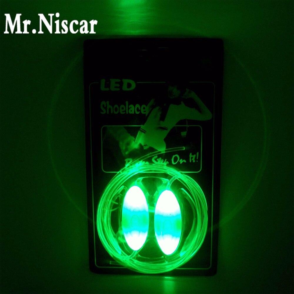 Mr.Niscar 1 paar roheline LED hõõguv kingapaelad Creative Cool Flash helendav kinga pits LED valgus kinga paelad plastist kingapael