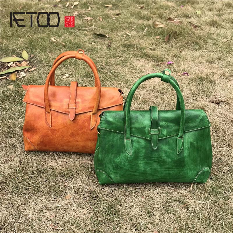 ab78c2717c50 AETOO New leather womens vegetable bag tanned wipe color retro tree cream  soft handbag