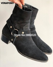 2018 Hot Sales VINAPOBO Brand Luxury Quality Handmade Black Suede Buckle Strappy Chains Chelsea Boots Men Ankle Flats