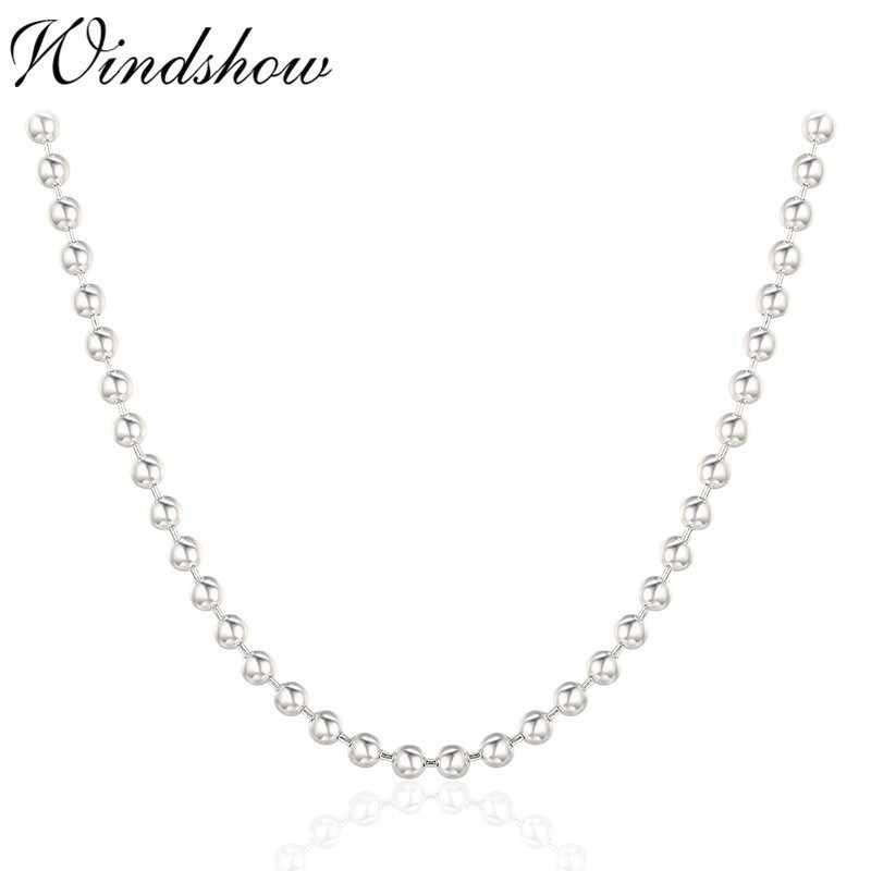 "16""-36"" Real Pure 925 Sterling Silver Round Beads Chains Long Necklace For Women Kids Girls Men Jewelry Kolye Colier 40-80cm 3mm"
