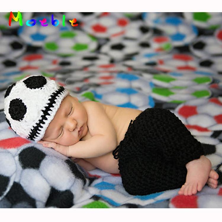 Crochet Newborn BABY Photography Props Baby Boys Football Outfit Knitted Baby Hat Pants Set FREE Size for 0-3M  MZS-15046