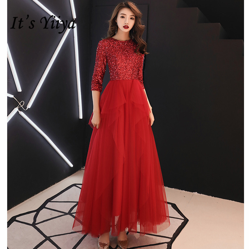 It's YiiYa Vestidos de Gala Red Sequin Zipper O-neck Long   Dresses   Women Party Night Tight Tulle   Prom     Dress   Plus Size 2019 E458