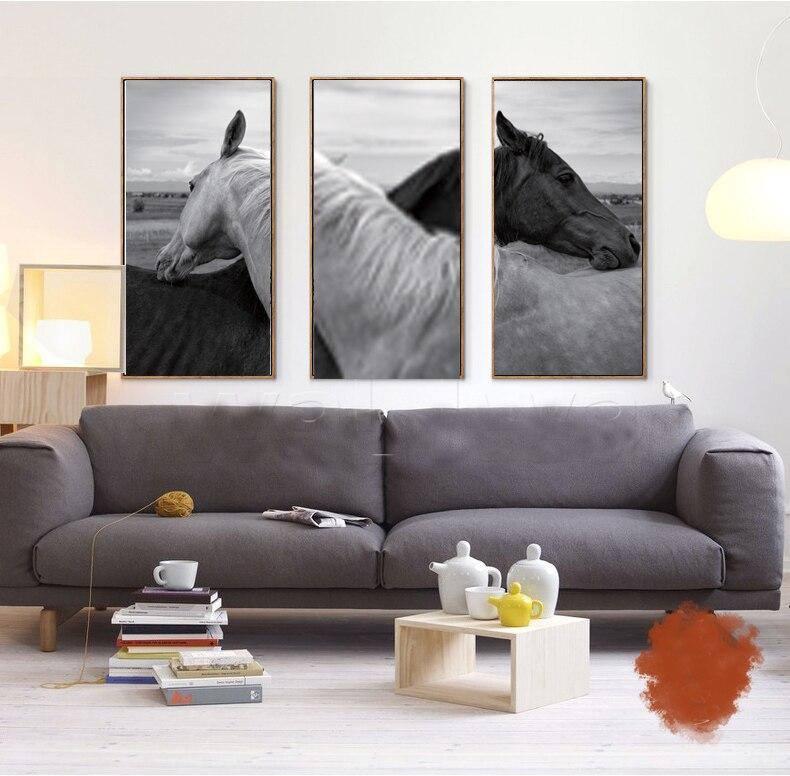 Черный и белый цвета фотографии бескаркасных живопись животные натюрморт Черный и белый цвета изображения лошадей в любви 3 Панели Печать н