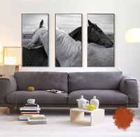 black and white pictures frameless painting animal still life black and white pictures horses in love 3 panels canvas prints