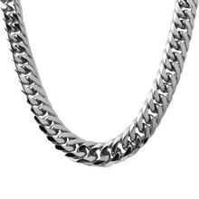 Granny Chic 16mm Custom Length Silver Or Gold Stainless Steel Curb Cuban Chain Necklace Boys Mens Fashion Chain Link jewelry цены
