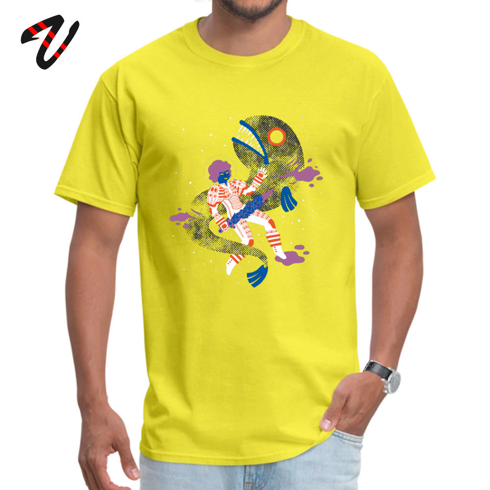 Men's Tshirts SPACE FISH Cool T Shirt Pure Cotton Round Neck Short Sleeve Custom Top T-shirts Father Day Drop Shipping SPACE FISH 3809 yellow