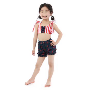 Kaiya Angel 2019 New Arrival Swimsuit Outfits For Children Girl Striped Bow Tops with Anchor Printing Shorts Kid Swim Clothes