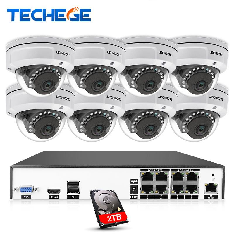 Techege H.265 8CH POE NVR CCTV Camera System 4MP POE IP Camera 2560*1440 Night Vision Vandalproof Waterproof APP PC Remote View