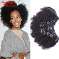 8A Mongolian Afro Kinky Curly Clip In Human Hair Extensions 2 Sets Mongolian Human Virgin Hair Clip In Extensions 7Pcs/Set