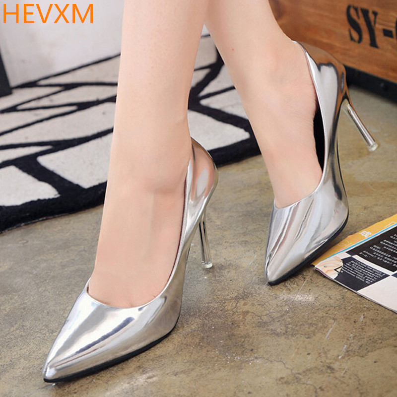 HEVXM New ladies fashion pointed temperament fine with sexy high heels woman metal wedding shoes OL